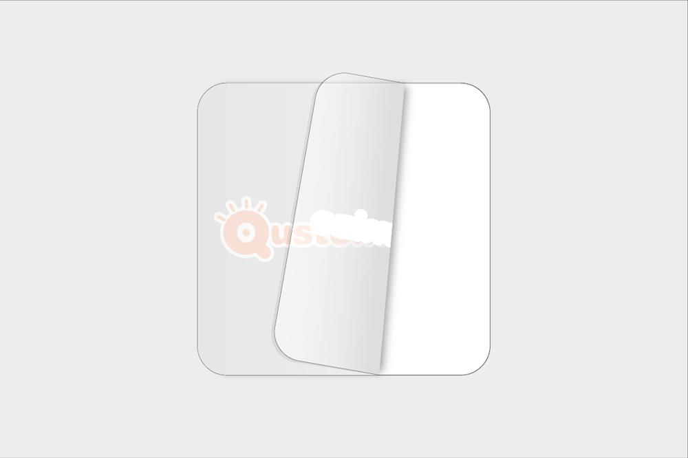 Square transparent vinyl stickers with opaque inks