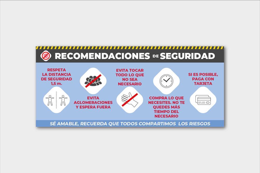 Cartel rígido con recomendaciones de seguridad