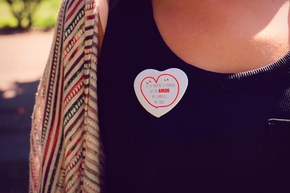 heart-shaped pin buttons