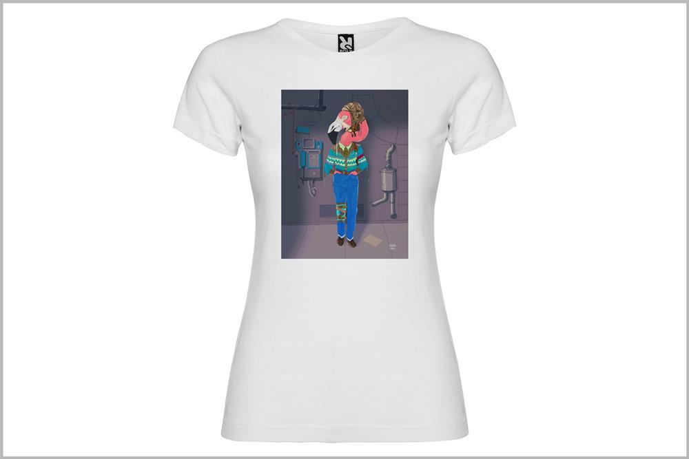 """Camiseta de mujer """"Estoy flamenca"""" con fondo de Pedro García"""
