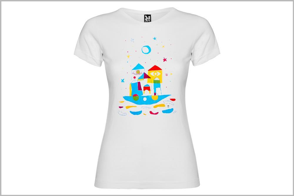 """Camiseta de mujer """"Barco Arco Iris"""" de Laura GBécares"""