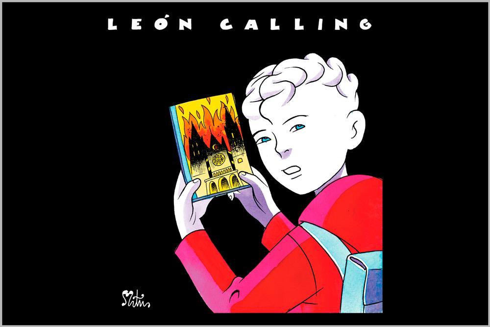 """Camiseta de mujer """"León Calling"""", de Miguel Ángel Martín"""