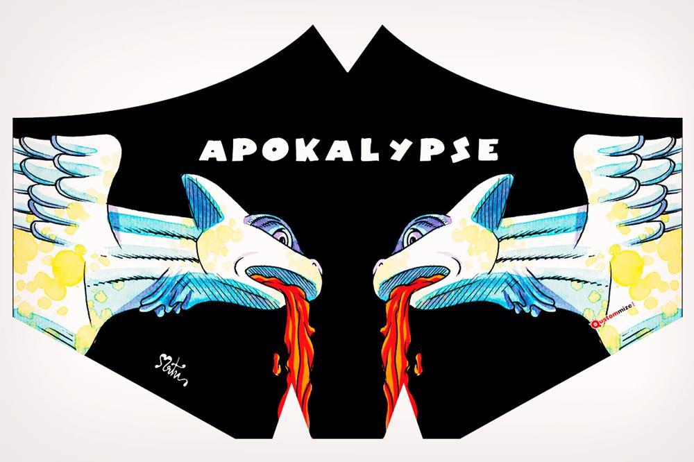 """Mascarilla con diseño """"Apokalypse"""", de Miguel Ángel Martín"""