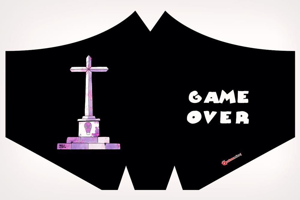 """Mascarilla con diseño """"Game over"""", de Miguel Ángel Martín"""