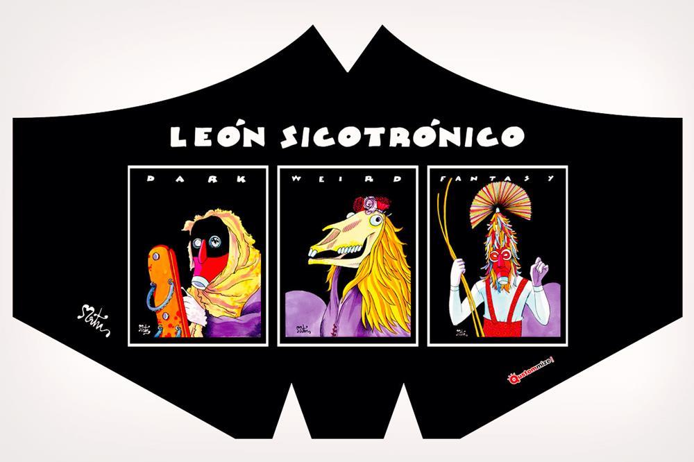 """Mascarilla con diseño """"León sicotrónico"""", de Miguel Ángel Martín"""