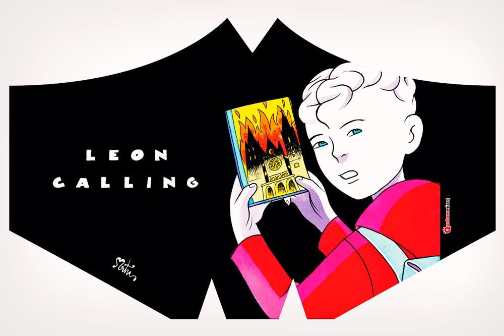 """Mascarilla con diseño """"León Calling"""", de Miguel Ángel Martín"""