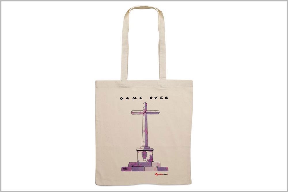 """Tote-bag con diseño """"Game Over"""", de Miguel Ángel Martín"""