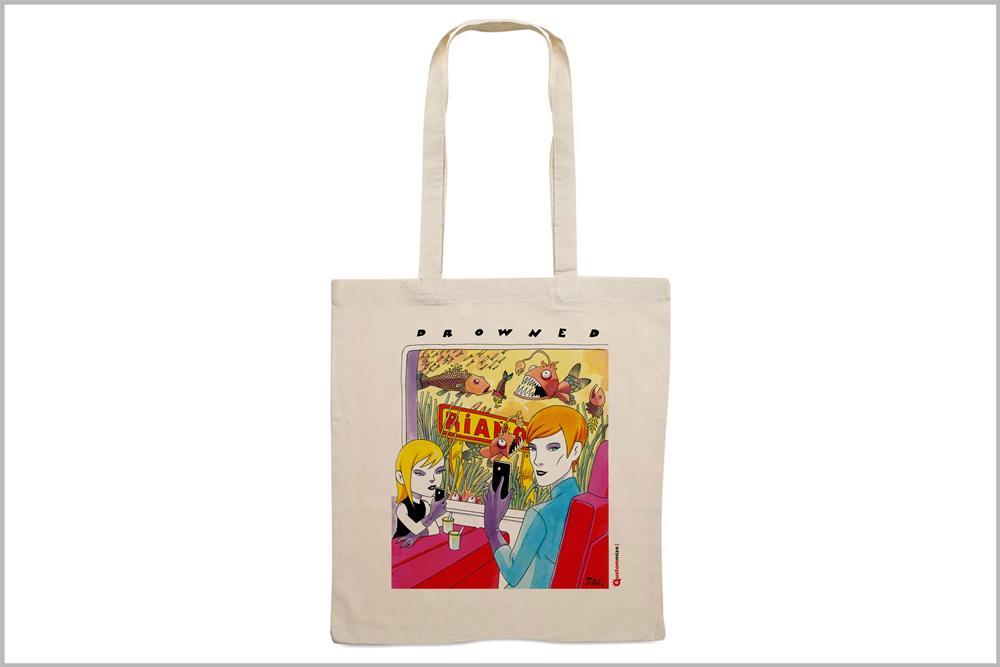 """Tote-bag con diseño """"Drowned"""", de Miguel Ángel Martín"""