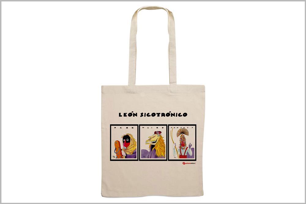 """Tote-bag con diseño """"León sicotrónico"""", de Miguel Ángel Martín"""